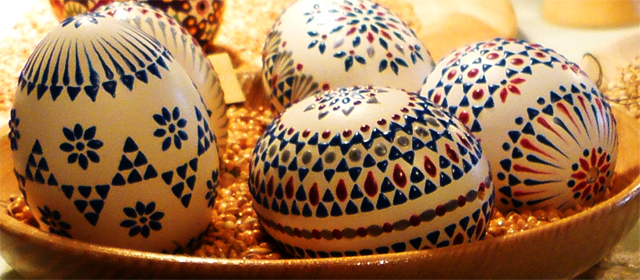some painted easter eggs, fancy