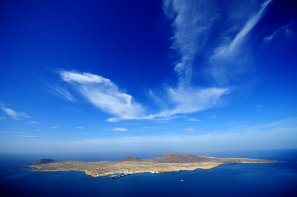 The island La Graciosa, as seen from the Mirador del Rio, Lanzarote.