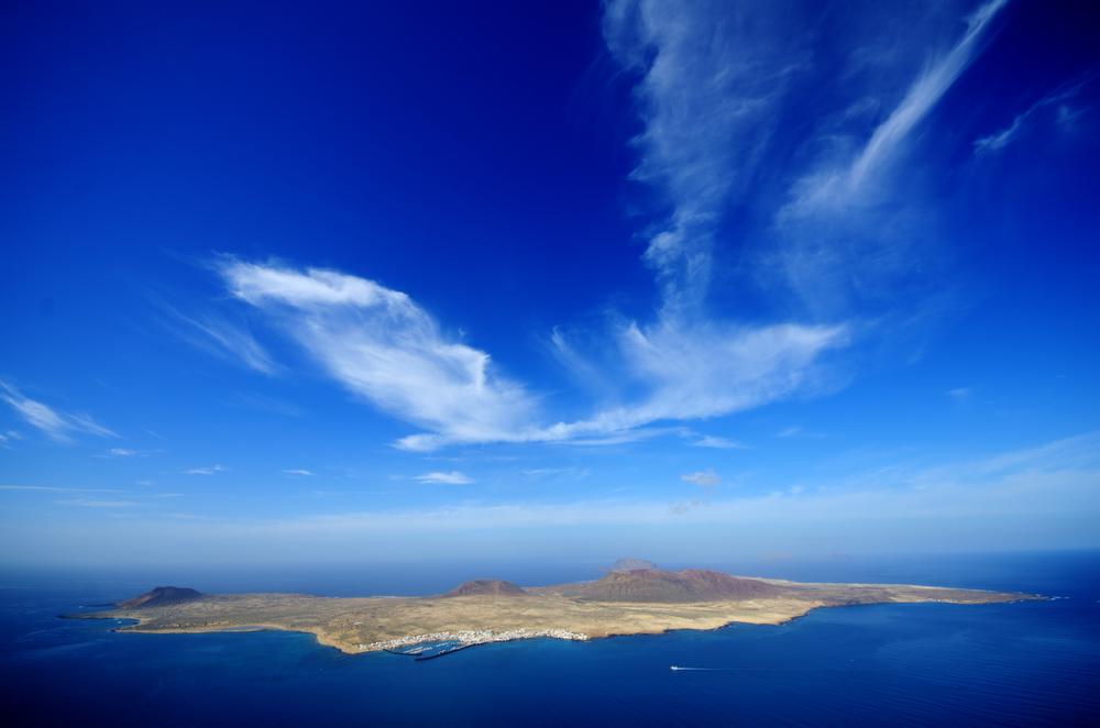 The island La Graciosa, as seen from the Mirador del Rio, Lanzarote.